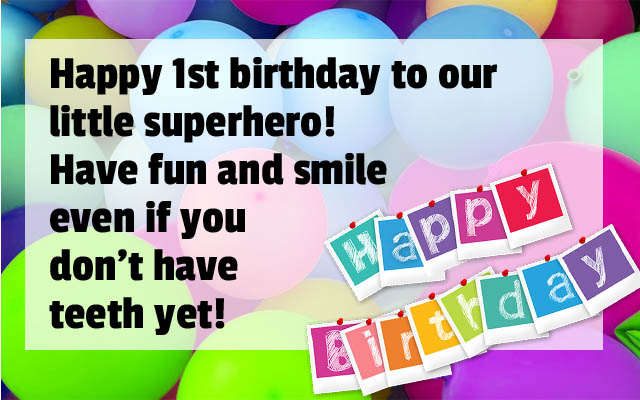 Superhero Greetings for 1st Birthday