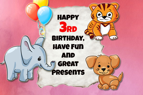 Wild animals bringt 3rd birthday greetings