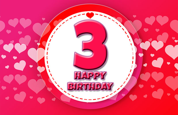 Red and pink hearts for 3rd birthday